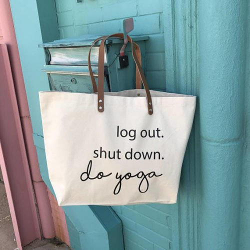 yoga gifts tote bag