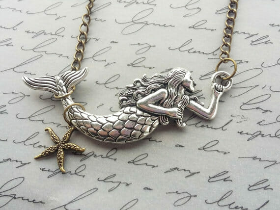 beach gifts mermaid necklace