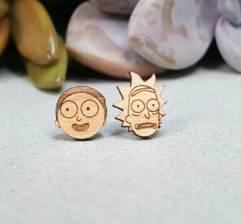 rick and morty merchandise earrings