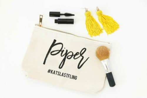 bachelorette gift ideas makeup bag