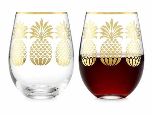 pineapple decor gifts wine glasses