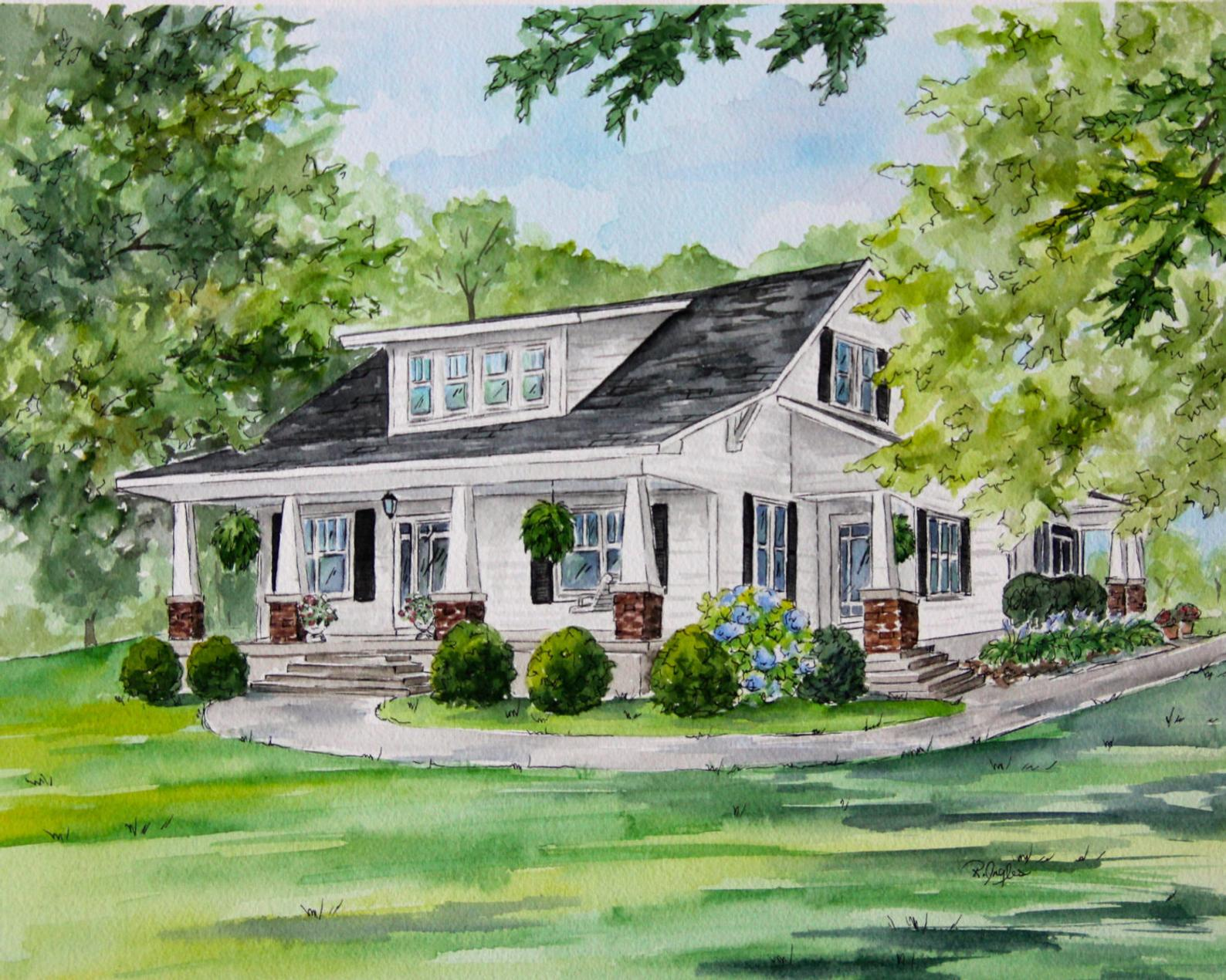 anniversary-gifts-for-parents-watercolor-house-painting