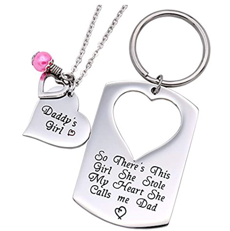 gifts-for-dad-from-daughter-keyring-and-necklace