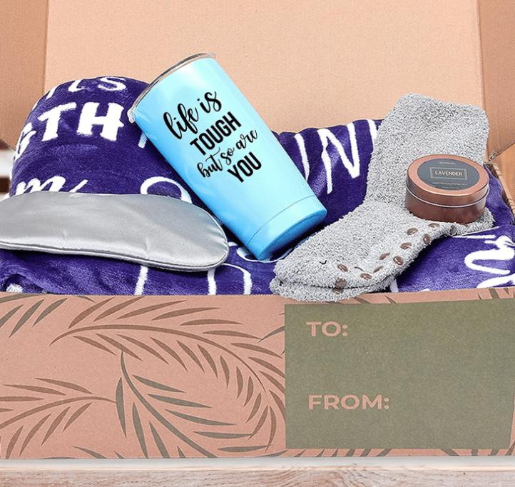 self-care-gift-basket-tumbler-blanket